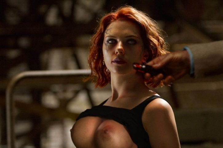 1138860 - Avengers Black_Widow Jeff_Bridges Marvel Obadiah_Stane Scarlett_Johansson fakes kissthegirls