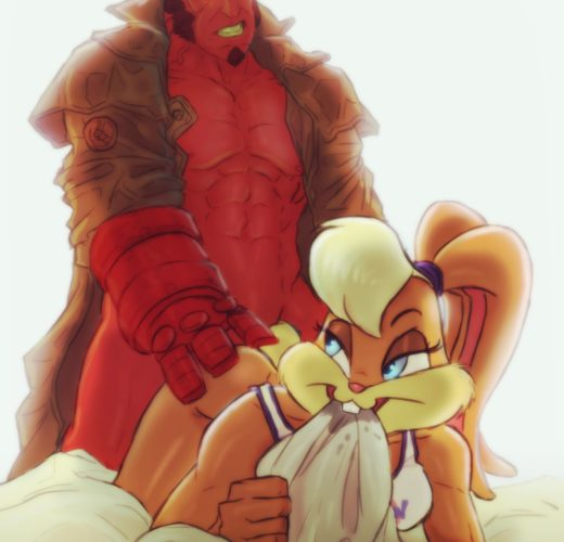 Lola Bunny and Hellboy Rule 34 Crossover