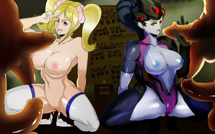 1663046 - 121gigawatts Juliet_Starling Lollipop_Chainsaw Overwatch Widowmaker crossover