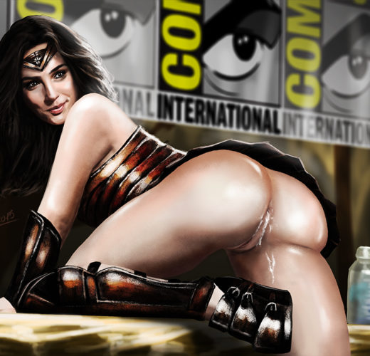 Gal Gadot Showing Off Her Wonder Woman Costume at Comic-Con