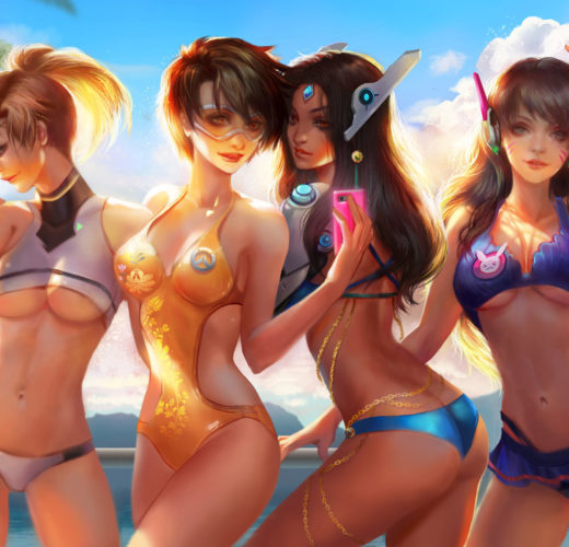 Overwatch Swimsuits by Jiuge ~ D.Va, Mercy, Symmetra, and Tracer