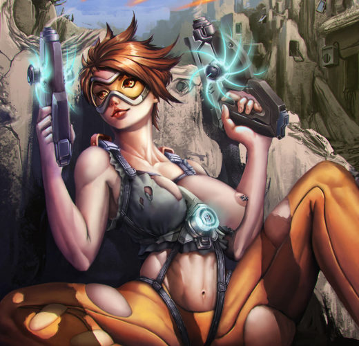 Tracer Takes Cover ~ Overwatch Fan Art by Yangyue