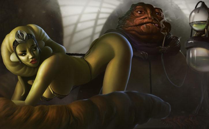 Oola in Jabba's Palace ~ Star Wars Fan Art by achibner