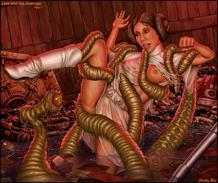 Leia, Rey, Jyn vs. Tentacles ~ Star Wars Fan Art by Shabby Blue