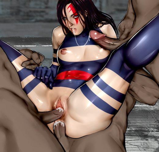 Psylocke in a 3v1 ~ Marvel Fan Art by OrionM