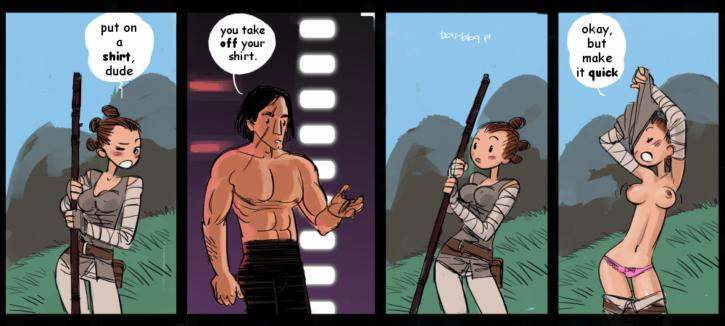 Rey x Kylo Reach an Understanding ~ Star Wars: The Last Jedi Fan Art by Boli