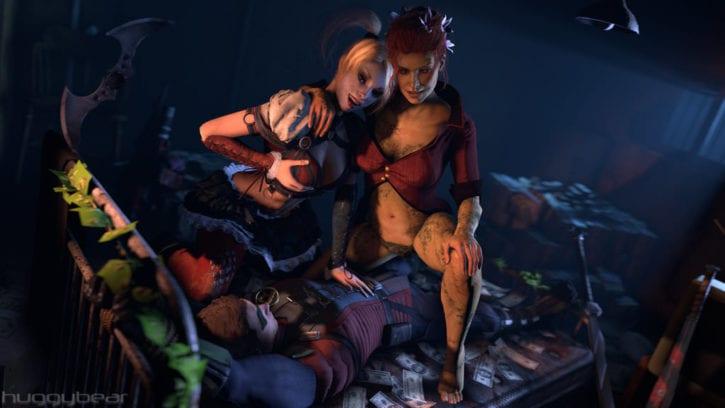 Harley Quinn x Poison Ivy Riding Robin ~ DC Comics Fan Art by HuggyBear742