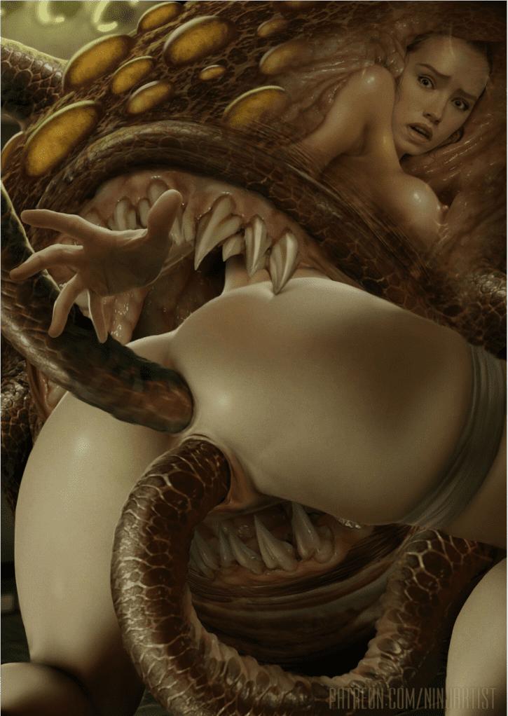 Rey and the Rathtar ~ Star Wars Fan Art by NinjArtist