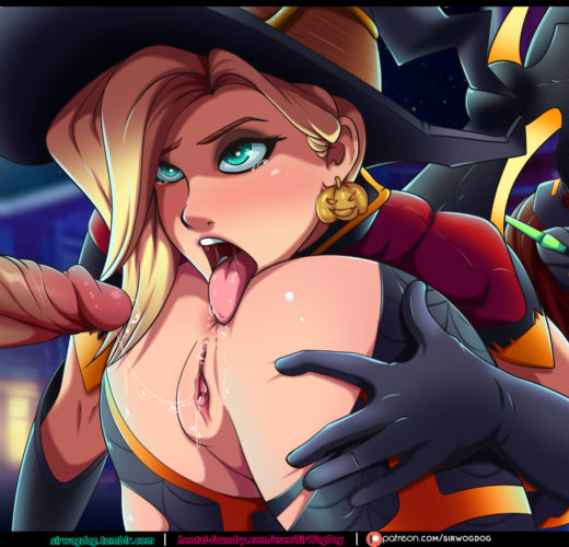 Witch Mercy x D.Va ~ Halloween Overwatch Fan Art by SirWogDog