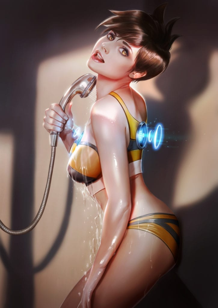Tracer Showering ~ Overwatch Fan Art by Firolian