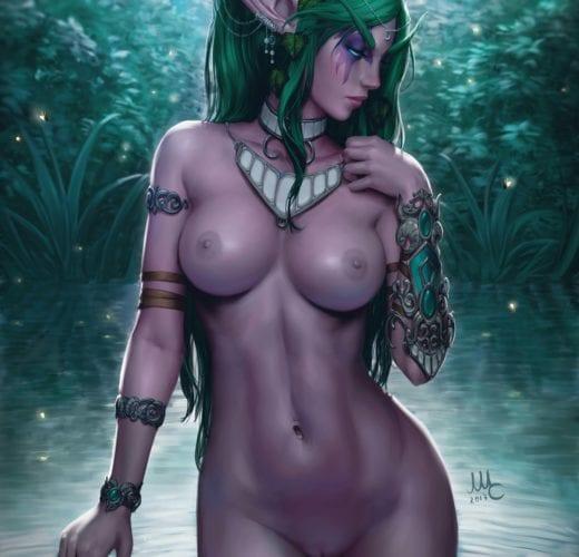 Tyrande Whisperwind Bathing ~ Warcraft Fan Art by Sciamano240