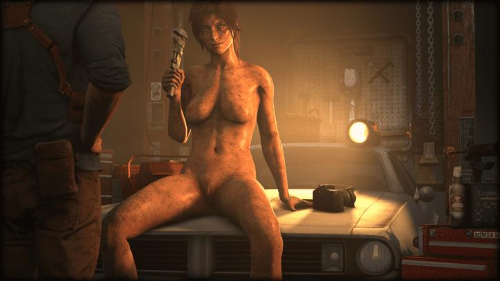 Lara Croft Getting Dirty With Nathan Drake ~ Tomb Raider Fan Art by ClouClou