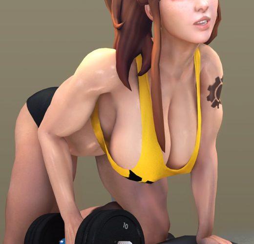 Brigitte Working Out ~ Overwatch Fan Art by Batesz