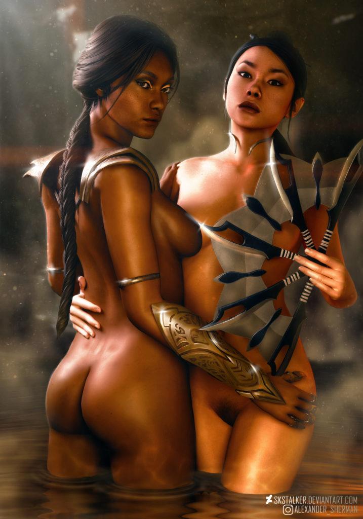 Kitana x Jade Nude ~ Mortal Kombat Rule 34 Fan Art by SKstalker