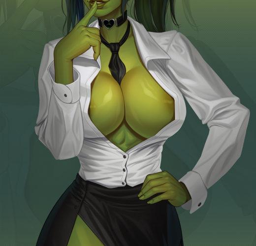 She-Hulk Pin-Up ~ Marvel Fan Art by Mikiron