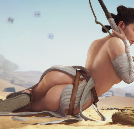 Rey Sunbathing ~ Star Wars Rule 34 Fan Art by DrDabblur