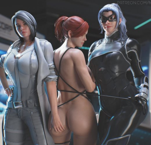 Silver Sable x Black Cat Capture Mary Jane ~ Spider-Man PS4 Rule 34 Fan Art by Nyalicia