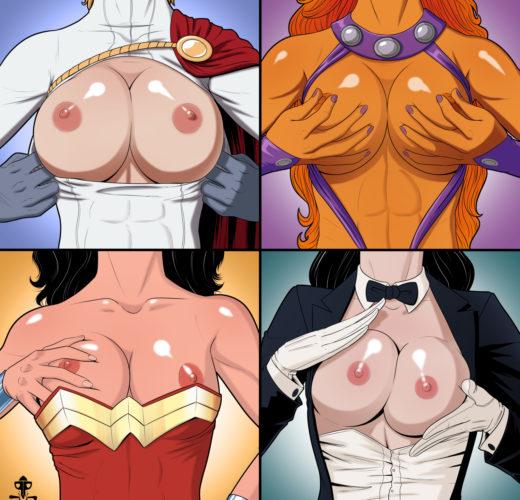 Superbewbs: Power Girl x Starfire x Wonder Woman x Zatanna ~ DC Comics Fan Art By PiratePup