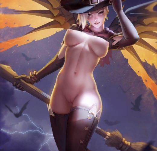 Witch Mercy ~ Overwatch Rule 34 Fan Art by Zarory