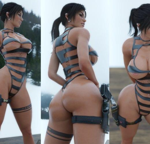 Lara in the Mountains ~ Tomb Raider Rule 34 Fan Art by KisX